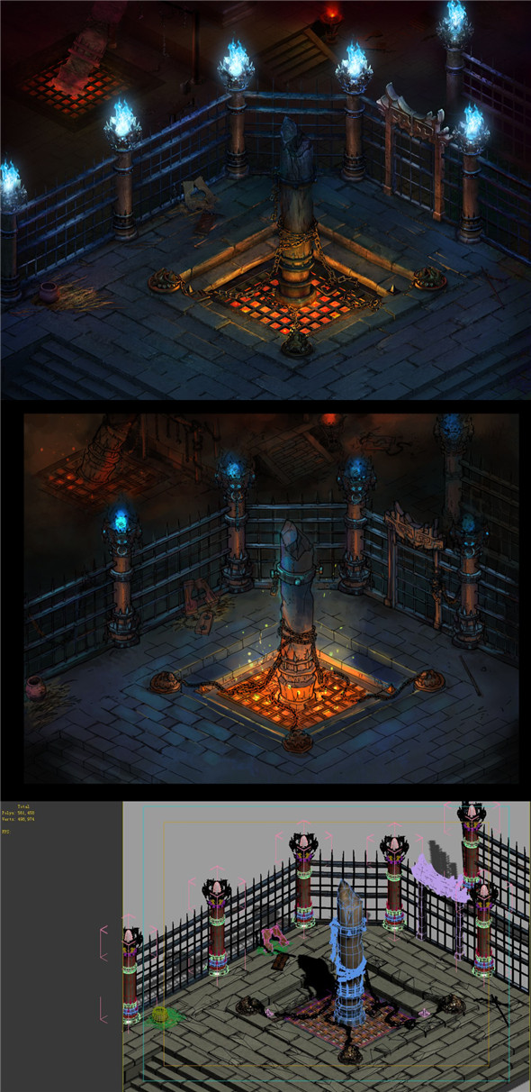 Main city Yamen dungeon interior - 3DOcean Item for Sale
