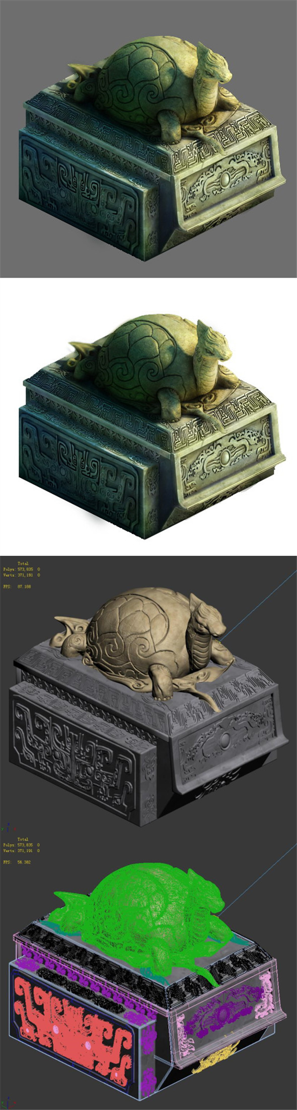 Decorative stone carvings - turtle - 3DOcean Item for Sale