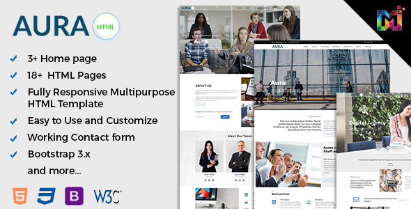 Aura – Responsive Multipurpose HTML5 Template