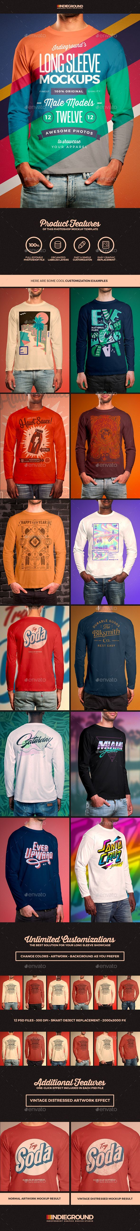 Men Long Sleeve T-Shirt Mockups - Apparel Product Mock-Ups