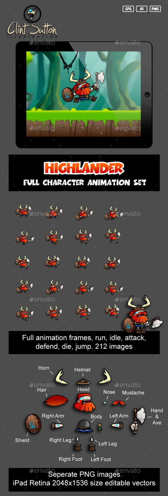 Highlander Run Set - Sprites Game Assets