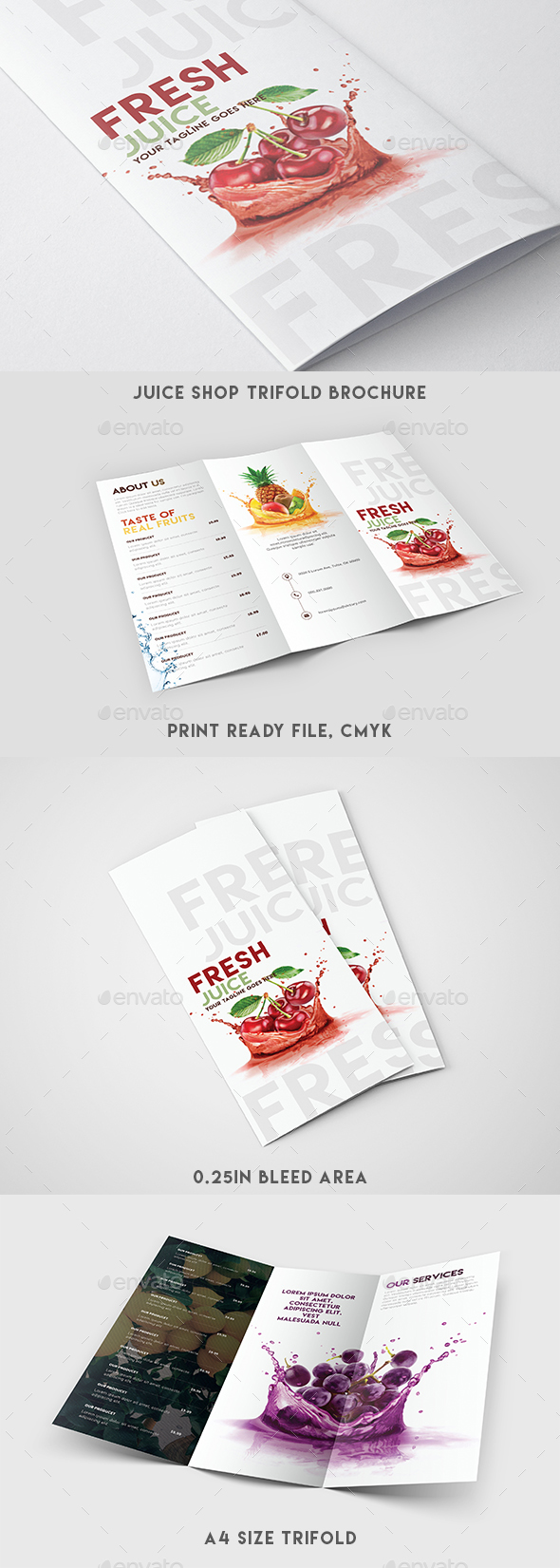 Trifold Brochure - Juice Shop Menu - Brochures Print Templates