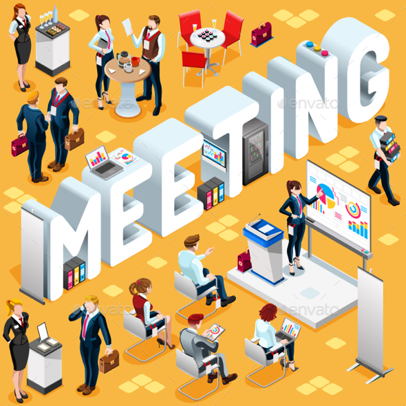 Meeting Isometric People 3D Icon Set Vector Illustration - Concepts Business