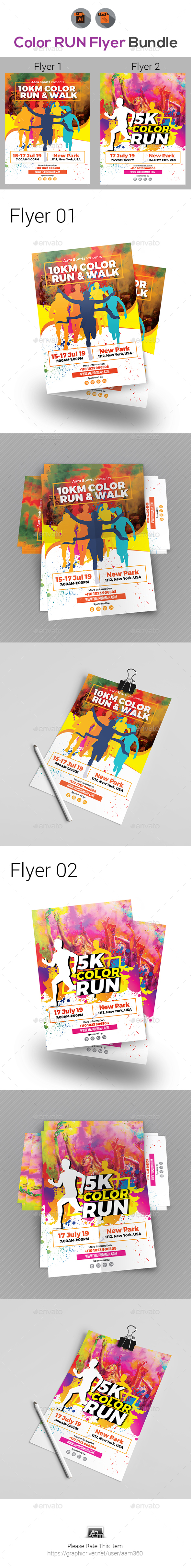 Color Run Festival Flyers Bundle - Events Flyers