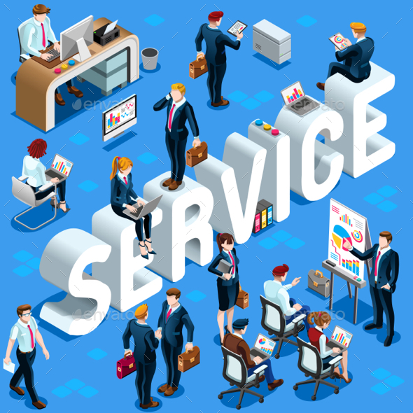 Service Isometric People Icon 3D Set Vector Illustration - People Characters