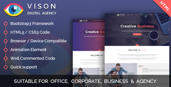 Vision Digital Agency – Multipurpose One Page HTML Template