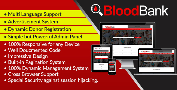 BloodBank - Dynamic Blood Bank Management Syestem and Directory Script - CodeCanyon Item for Sale