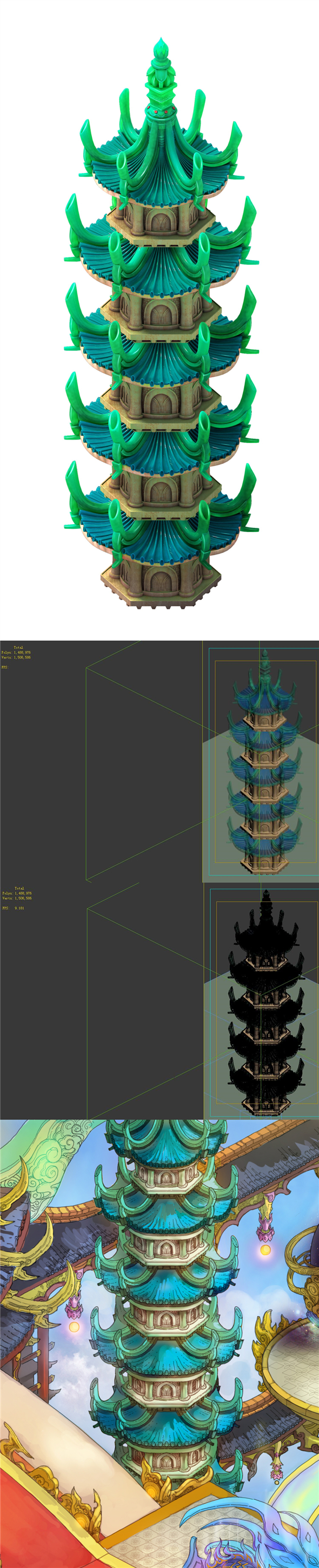Game model - Bi La City - Royal Palace Tower - 3DOcean Item for Sale