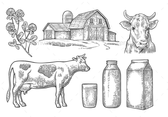 Farm and Milk Set - Food Objects