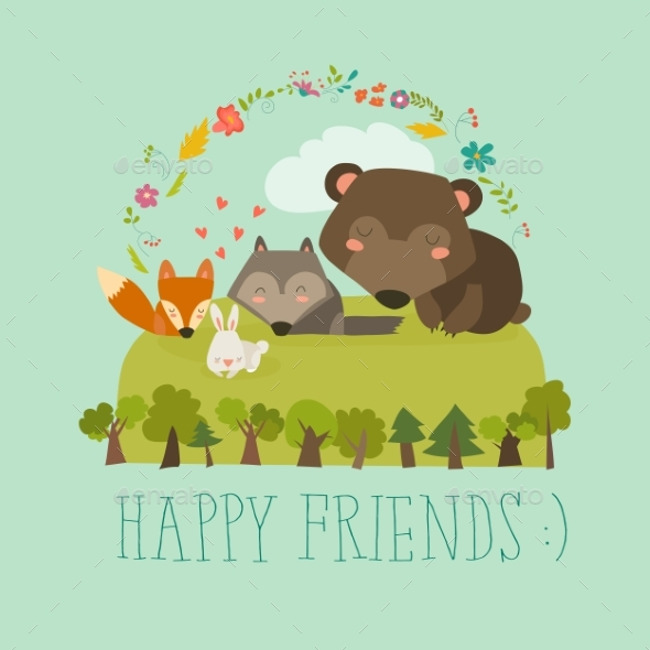 Happy Friends in the Forest - Animals Characters