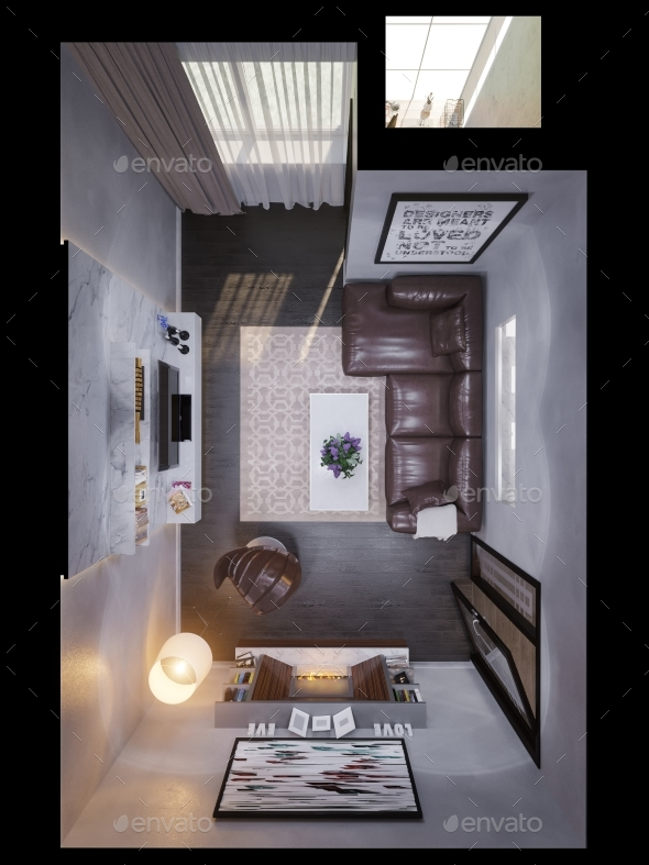 3d Render of the Interior Design of a Living Room. - Architecture 3D Renders