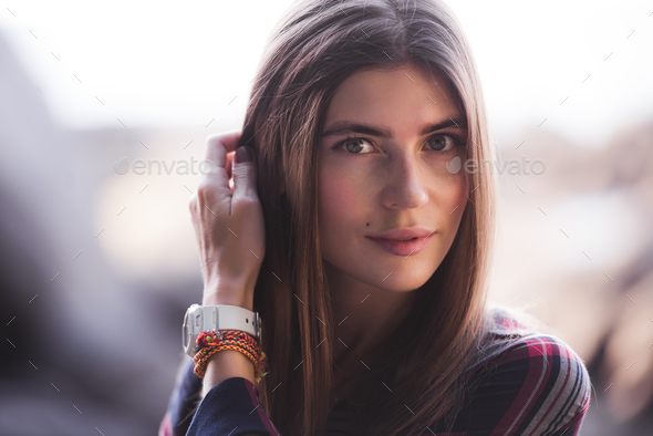 Close-up portrait of a beautiful hipster girl at sunset - Stock Photo - Images