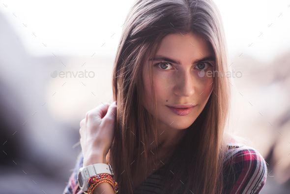 emotional portrait of Fashion stylish portrait of pretty young hipster blonde woman, soft colors - Stock Photo - Images