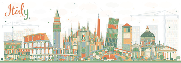 Abstract Italy Skyline with Landmarks. - Buildings Objects