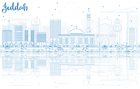 Outline Jeddah Skyline with Blue Buildings and Reflections. - Buildings Objects
