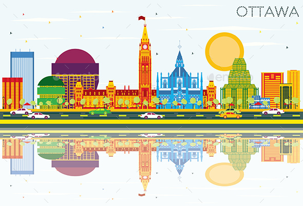 Ottawa Skyline with Color Buildings, Blue Sky and Reflections. - Buildings Objects