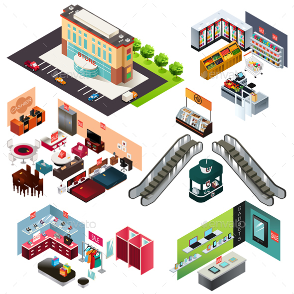 Shopping Mall Isometric - Buildings Objects