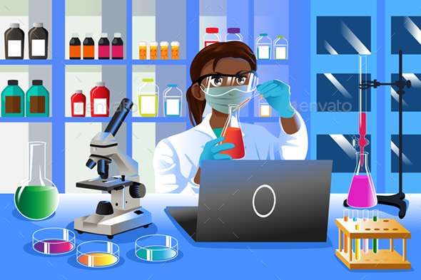 Female Scientist Working in the Lab - People Characters