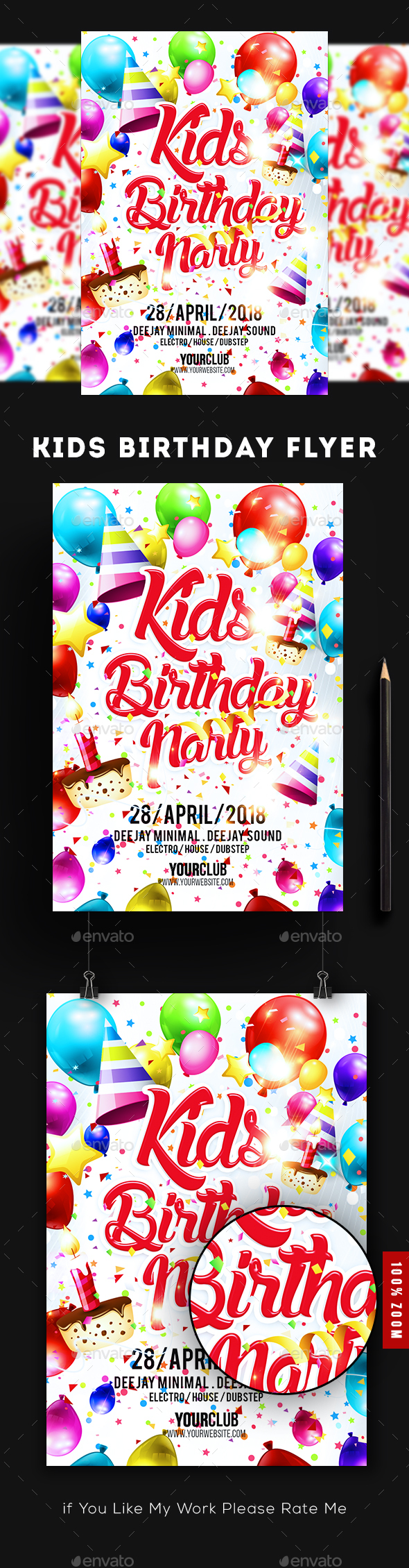 Kids Birthday Party Flyer - Flyers Print Templates