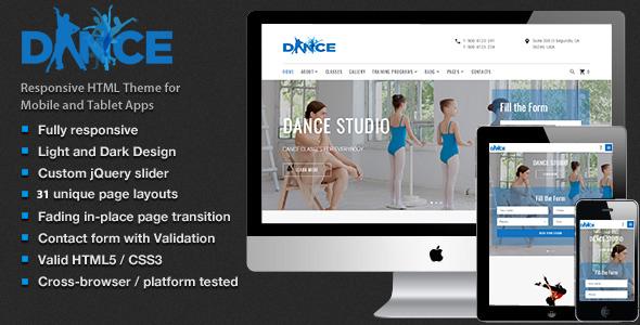 Dance Studio – Dancing Academy  HTML5 Template