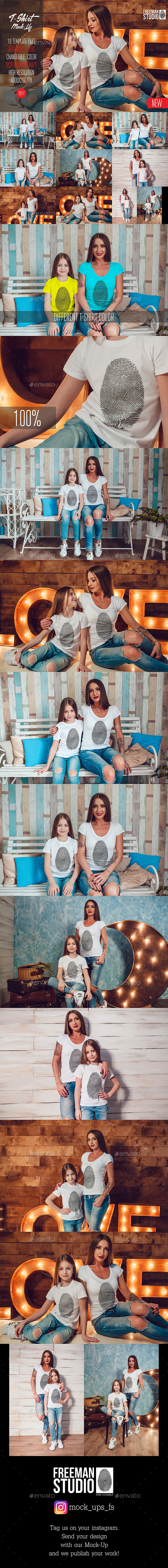 Family T-Shirt Mock-Up Vol.1 2017 - Product Mock-Ups Graphics