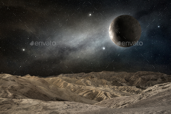 moon on a desert landscape in a starry night - Stock Photo - Images