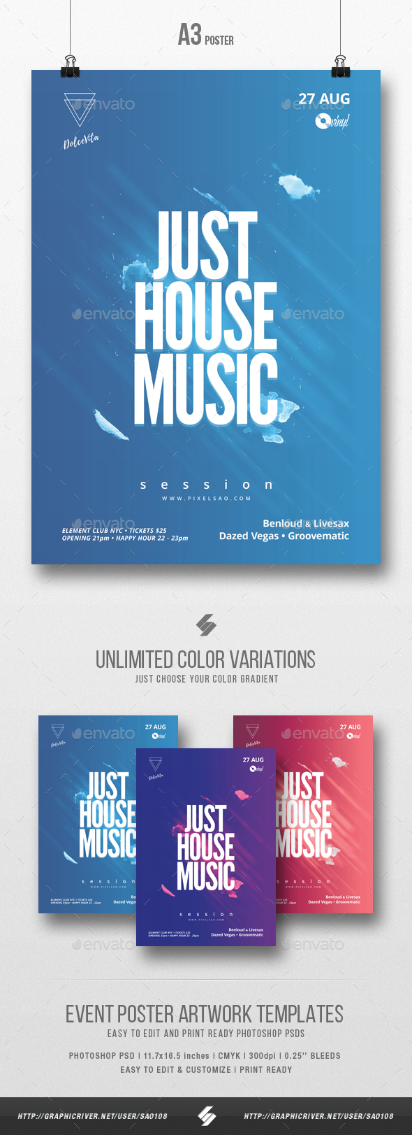 Just House Music vol.2 - Minimal Flyer / Poster Template A3 - Clubs & Parties Events