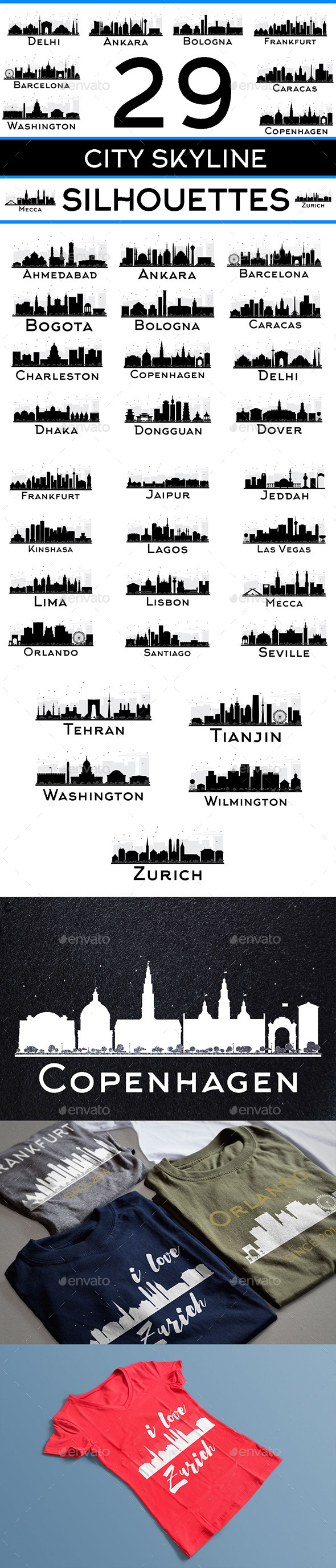 29 City Skyline Silhouettes Set - Buildings Objects