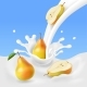 Pear Falling Into the Milk Splash. - GraphicRiver Item for Sale