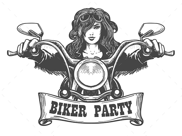 Biker Party Handdrawn Illustration - Sports/Activity Conceptual