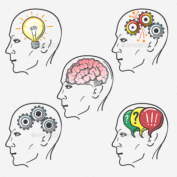 Human Brain Thinking Process Set - Miscellaneous Conceptual