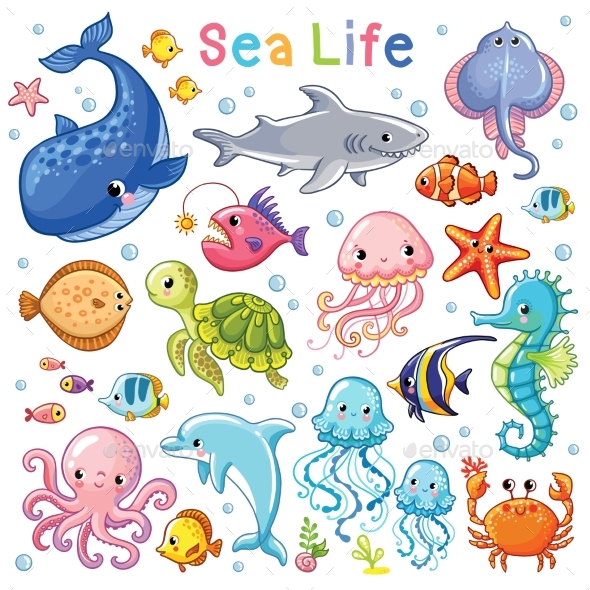 Sea Animal in Childrens Style. - Animals Characters