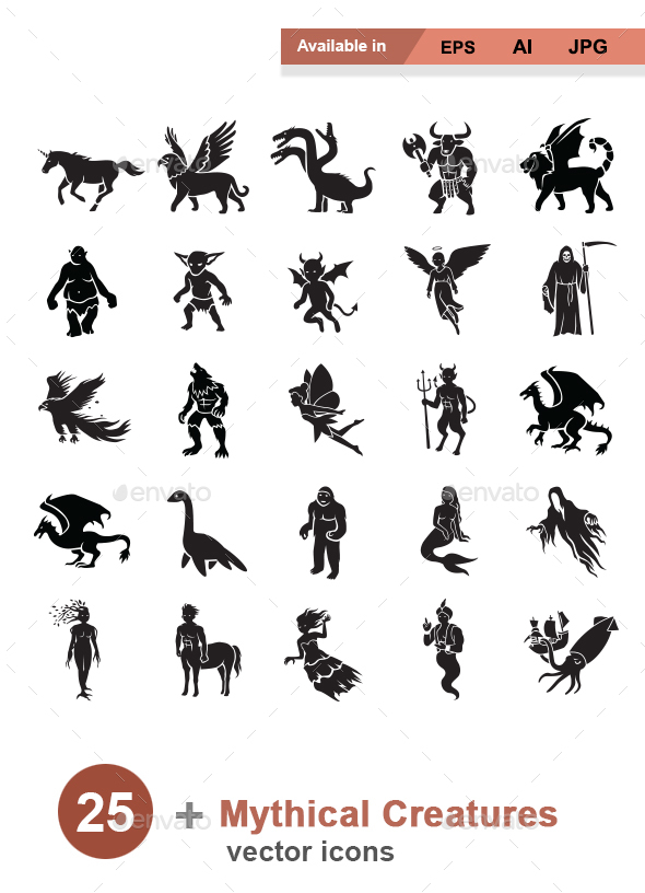 Mythical Creatures Vector Icons - Monsters Characters