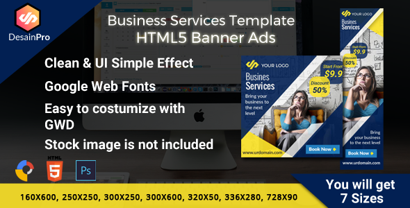 Business Services Ads Banner HMTL5 - 7 Sizes - CodeCanyon Item for Sale