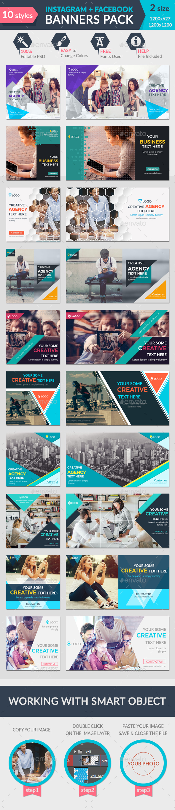 Facebook + Instagram Banners Pack-2 - Banners & Ads Web Elements