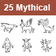 Mythical Creatures Outlines Vector Icons - GraphicRiver Item for Sale