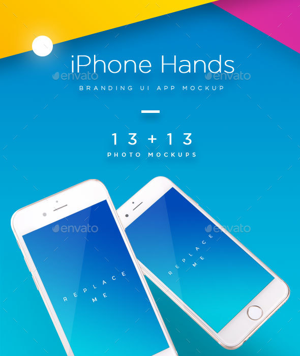 iPhone Mock-up Brending Templates with Vivid and Clean Backgrounds - Mobile Displays