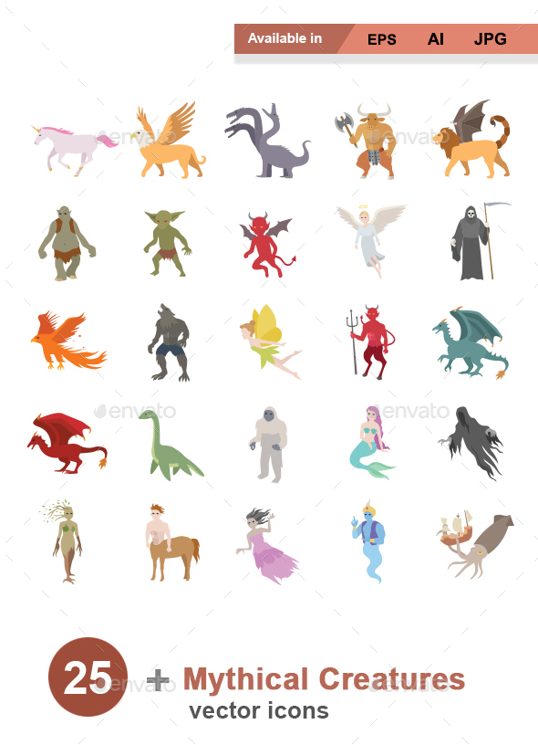 Mythical Creatures Color Vector Icons - Monsters Characters