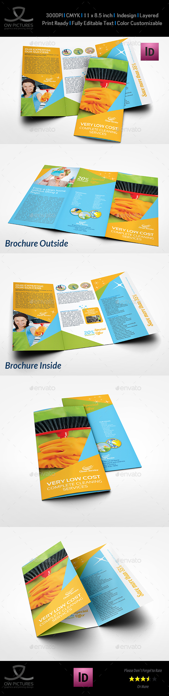 Cleaning Services Tri-Fold Brochure Template Vol.4 - Corporate Brochures