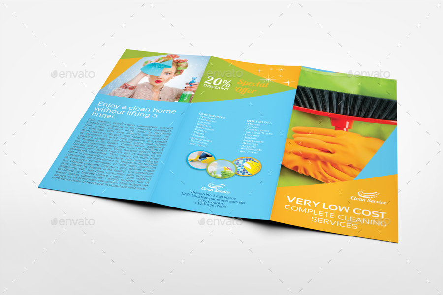 cleaning services tri fold brochure template vol4