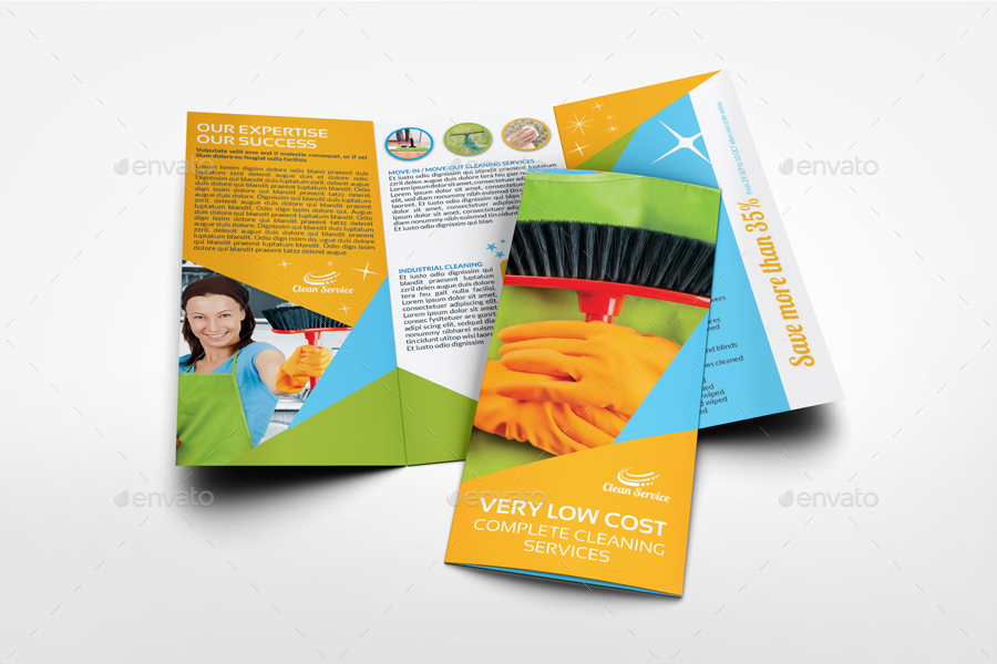 Cleaning Services Tri-Fold Brochure Template Vol.4 By Owpictures