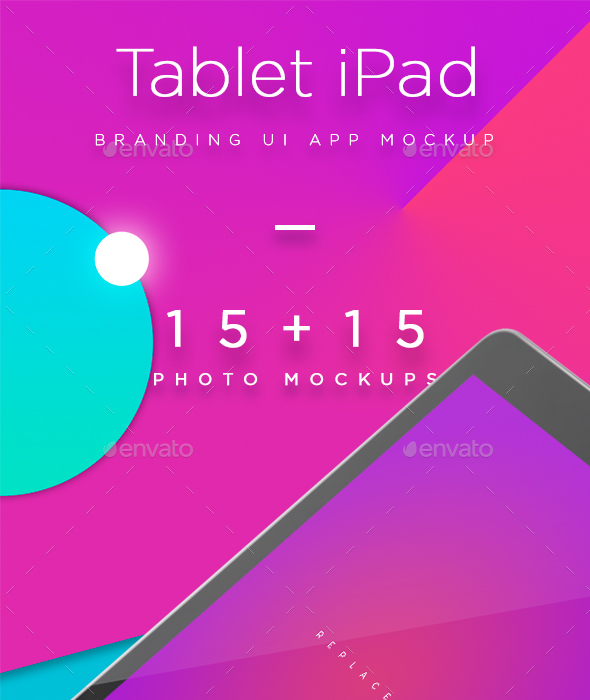 iPad Tablet UI App Mockups with Vivid Backgrounds - Mobile Displays