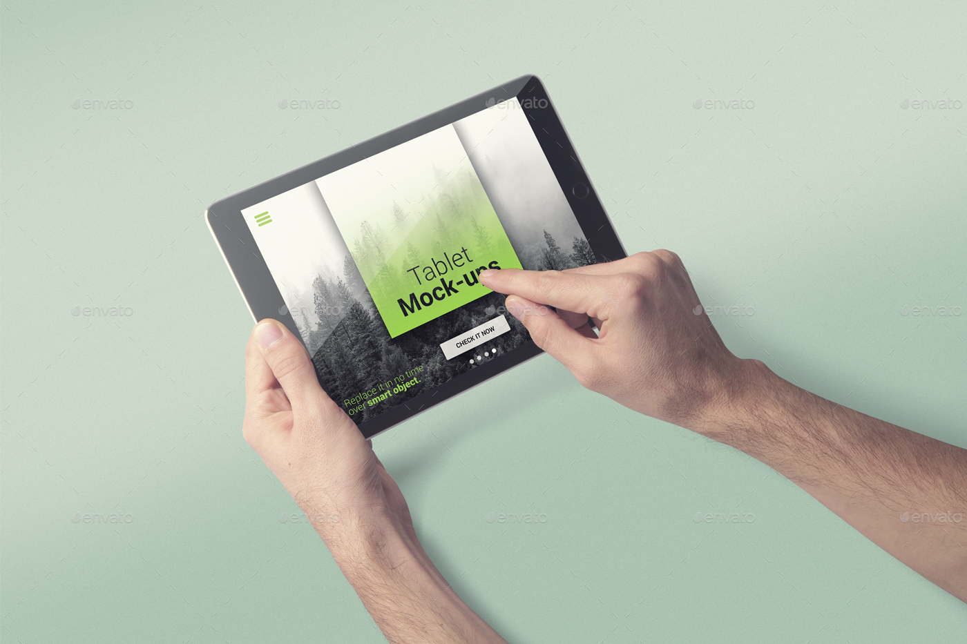 Ipad Retina Wallpaper Art Hand: IPad Tablet UI App Mockups With Vivid Backgrounds By
