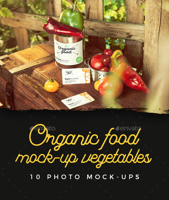 Organic Food Photo Mockup / Vegetables - Food and Drink Packaging