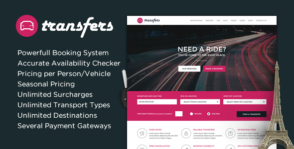Transfers - Transport and Car Hire WordPress Theme - Travel Retail