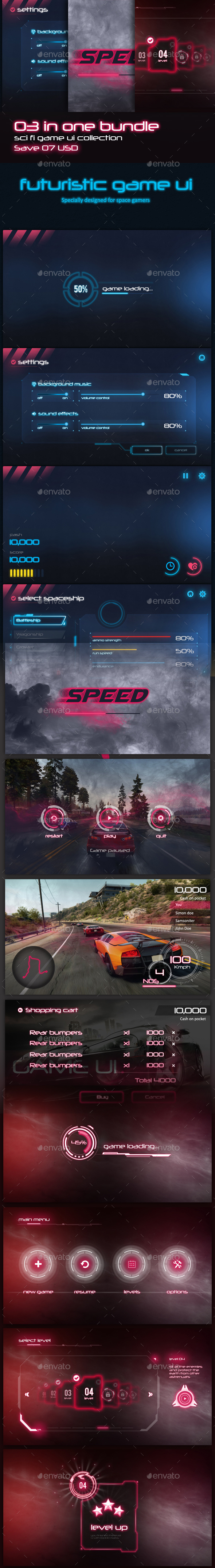 3 in 1 Sci-fi Game UI Bundle - User Interfaces Game Assets