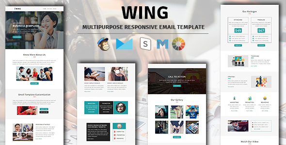 Image of WING - Multipurpose Responsive Email Template with Stampready Builder Access