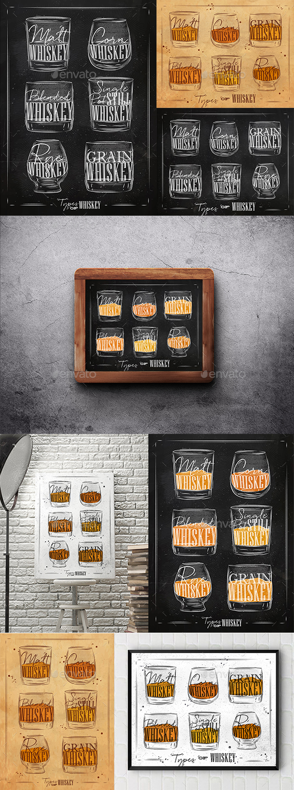 Whiskey Types Posters - Food Objects