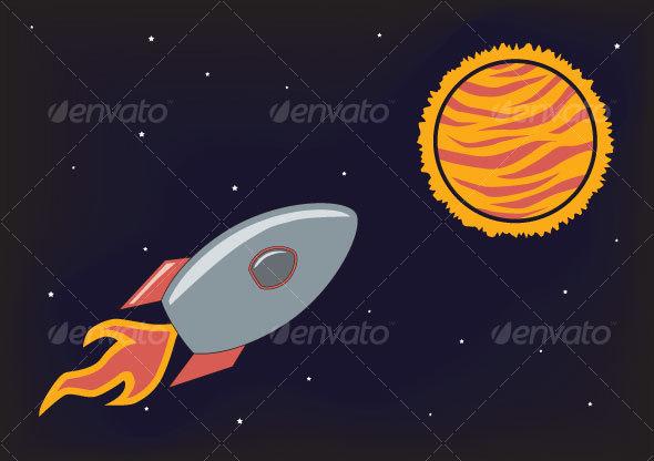 Space Rocket Illustration - Travel Conceptual
