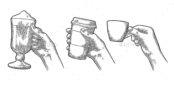 Hands Holding a Cup of Coffee - Food Objects